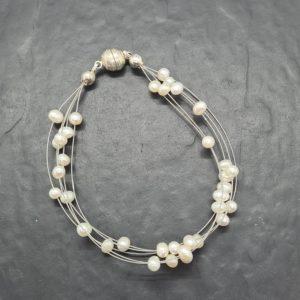 Süßwasserperle Armband Weiß